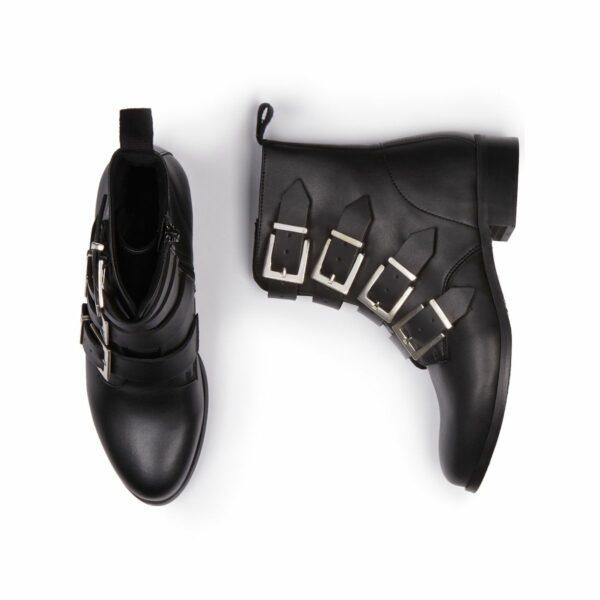 Wills Vegan Shoes 4 Strap Biker Boots 1