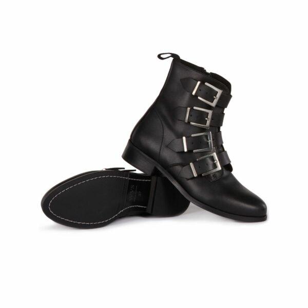 Wills Vegan Shoes 4 Strap Biker Boots 4