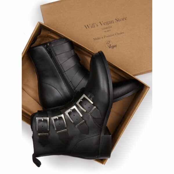 Wills Vegan Shoes 4 Strap Biker Boots 5