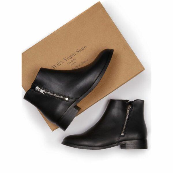 Wills Vegan Shoes Low Ankle Booties Dames Zwart 5