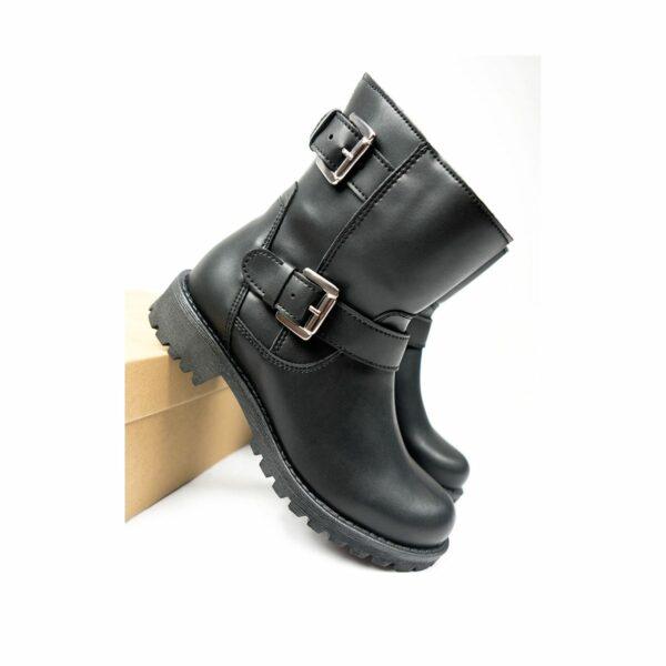 Wills Vegan Shoes Black Biker Boots 1