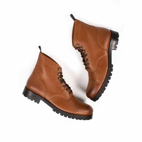 Wills Vegan Shoes Work Boots Tan Dames 1